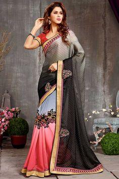 bleu rose en mousseline de soie georgette de satin sari avec chemisier en soie d'art Prix:-56,77 € collecte de sari festival de design avec blouse sont maintenant en magasin présenté par Andaaz la mode comme le noir bleu rose en mousseline de soie georgette de satin sari avec chemisier en soie d'art. ce sari est agrémenté de broderies, patch, Resham, pierre, Zari,  http://www.andaazfashion.fr/black-blue-pink-chiffon-georgette-satin-saree-with-art-silk-blouse-dmv7780.html
