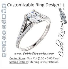 Cubic Zirconia Engagement Ring- The Mailynne (Customizable Oval Cut Style with Split-Pavé Band)