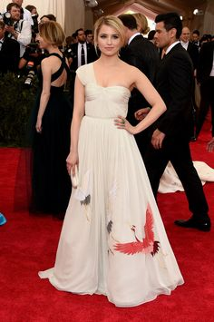 Dianna Agron. Dianna payed homage to the theme with cranes embroidered onto her Tory Burch gown.