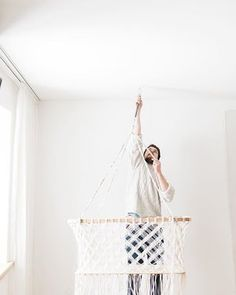 handmade and sustainable baby furniture x bedding x toys x designed by architects for families Hanging Bassinet, Hanging Cradle, Hanging Crib, Wicker Furniture, Baby Furniture, Dolls Prams, Home And Family, Family Homes, Baby Bassinet
