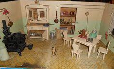 Estate Antique German Doll House Kitchen Furnitures Acces | eBay