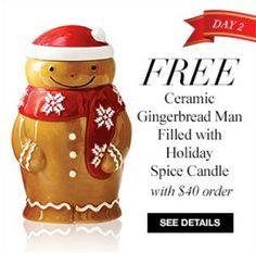 Avon Free Gift with $40 or more Purchase Offer – Get the Avon Free Ceramic Gingerbread Man filled with Holiday Spice Candle free with your online order of $40 or more with Avon coupon code: SPICE at http://eseagren.avonrepresentative.com. Expires: midnight December 3, 2015.