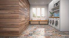 Revestir 2013 - Para pisos internos, o porcenalato esmaltado Essence Decor (60 x 60 cm) parece ladrilho hidráulico. Na parede, porcelanato Peroba (1,20 x 0,20 m). Ambos da Eliane.