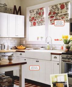 A surprise home makeover for a soldier coming back from Afganistan. HGTV magazine originally, via decorology.  This looks very do-able- wooden countertops, painted white cabinets, DiY shades, big letter and wire baskets.