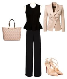 """""""Ready to work"""" by walwala-z on Polyvore featuring Christian Louboutin, Rochas, French Connection, Balmain and Karl Lagerfeld"""
