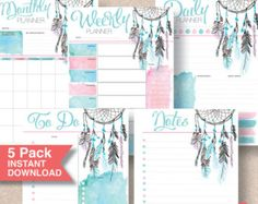 Boho Dream Catcher Printable Planner 5 Pack. Summer Trend Gift for Sister, Wife or YOU! Letter, Half Letter, A4 & A5 Planner Inserts. | #601