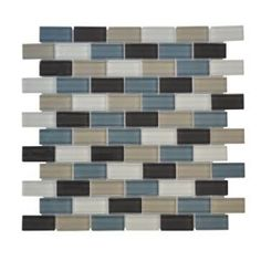 Jeffrey Court, Shoreline Brick 12 in. x 12 in. x 8 mm Glass Mosaic Wall Tile, 99186 at The Home Depot - Mobile