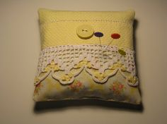 Handmade Yellow Sachet Pin Cushion Vintage by backgatecottage, $20.00