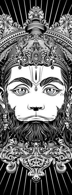 Hanumas is a monkey with a titanic force. He helped Rama to save Sita Hanuman Tattoo, Hanuman Chalisa, New Foto, Lord Hanuman Wallpapers, Hanuman Images, Shiva Shakti, Shiva Art, Indian Art Paintings, God Pictures