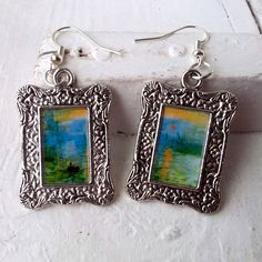 "Claude Monet ""Impression, Sunrise"" Earrings Frame Tibetan Silver Plated"