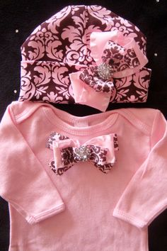 NEWBORN baby girl outfit complete with pink gown layette pink damask beanie hat bows rhinestones via Etsy