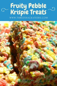 A fun and fruity twist on the classic rice krisp… Fruity Pebbles Krispies Treats! A fun and fruity twist on the classic rice krispie treat. Fruity Pebbles, Rice Krispies and butter. Recipe from The Three Snackateers Köstliche Desserts, Delicious Desserts, Yummy Food, Fun Food, Dessert Recipes, Rice Crispy Treats, Krispie Treats, Homemade Rice Krispies Treats, Fruity Pepples