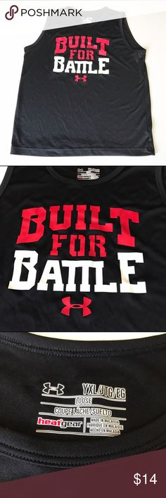 "Under Armour Heat Gear sleeveless athletic top Very good condition. Black athletic top with ""Built for Battle"" logo Under Armour Shirts & Tops Tank Tops"
