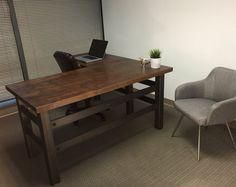 The Brooklyn Executive L shape desk - Modern Industrial Office Design Rustic Desk, Rustic Office, Rustic Furniture, Furniture Ideas, Industrial Furniture, Furniture Design, Rustic Chair, Cheap Furniture, Rustic Kitchen