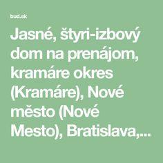 Jasné, štyri-izbový dom na prenájom, kramáre okres (Kramáre), Nové město (Nové Mesto), Bratislava, Slovakia. Dom sa nachádza v súkromnom sektore, v okolí veľa zelene. Dom pozostáva z: troch podlažiach, vstupná hala, obývacia miestnosť s kuchyňou, krbom, tri spálne, kúpeľňa s wc, samostatné wc. Dom je plne zariadený, ... Mesto, Bratislava