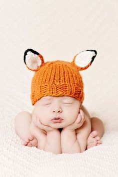 Super sweet foxy hat for newborn photos! What a sweet and timeless look to remember your tiny baby