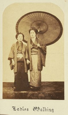 Two lovely Japanese women with parasols, c. 1867-1869. #Victorian #portrait #1800s
