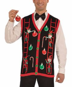 57250e1bcb2 Forum Novelties Black Decorating Elves Button Vest - Men. Ugly SweaterUgly  Christmas SweaterTacky SweatersUgly OutfitsVest ...