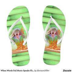 Shop When Words Fail Music Speaks Flip Flops created by HorizonOfArt. Flip Flop Sandals, Flip Flops, Flip Flop Art, Summer Fun, Beachwear, Art Photography, Creative, Music, Designers