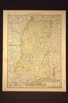 Antique Mississippi Map Mississippi Antique Hand Colored