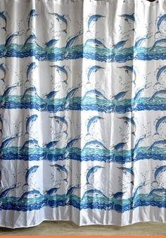 Free Shipping Polyester Dolphin Shower Curtain Printed Useful Shower Curtain  High Quality Shower Curtain