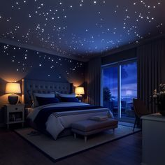 Glow In The Dark Stars Wall Stickers, 252 Dots and Moon for Starry Sky, Perfect For Kids Bedding Room or Birthday Gift, Beautiful Wall Decals by LIDERSTAR, Delight The One You Love. Room Ideas Bedroom, Bedroom Themes, Home Decor Bedroom, Kids Bedroom, Kids Rooms, Girl Bedrooms, Night Bedroom, Bedroom Designs, Galaxy Bedroom Ideas