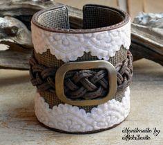 Boho bracelet Rustic cuff Boho jewelry Boho cuff Rustic bracelet Wide bracelet Country bracelet Beige bracelet Brown bracelet Lace bracelet by HandmadeByAleksanta on Etsy