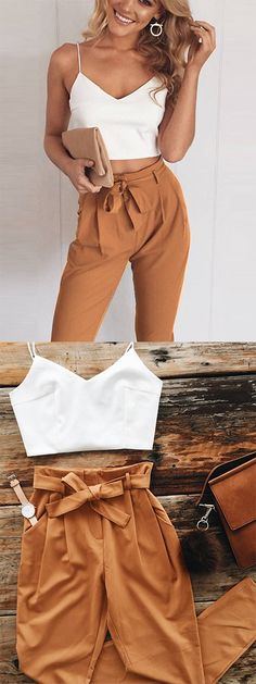 Khaki Spaghetti Strap V-neck Crop Top And High Waist Pants - 2019 Crop Top Outfits, Fall Outfits, Summer Outfits, Casual Outfits, Cute Outfits, Cute Fashion, Look Fashion, Fashion Outfits, Gothic Fashion