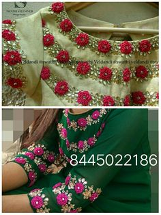 Flowers with ring knot stitch Embroidery Suits Punjabi, Embroidery On Kurtis, Kurti Embroidery Design, Embroidery Neck Designs, Shirt Embroidery, Salwar Designs, Kurti Neck Designs, Dress Neck Designs, Blouse Designs