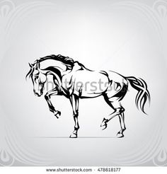Silhouette of a walking horse