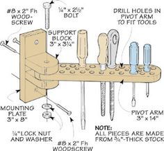 Woodworking Tips: Swing-Out Tool Bar .wall-mounted tool bar shown in the drawing at right. Besides holding a number of hand tools the bar swings out from the wall. This provides easy access to additional tools mounted behind the tool bar. Garage Tool Storage, Workshop Storage, Workshop Organization, Garage Tools, Garage Workshop, Garage Organization, Garage Shelf, Organization Ideas, Storage Ideas