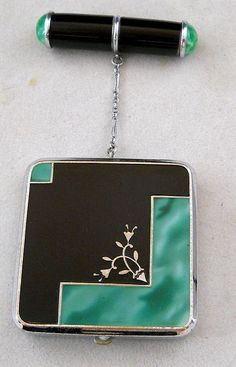 Vintage Chrome and Enamel Compact and Lipstick   eBay