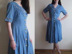 vtg Denim blue western preppy dress S M | eBay