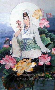 Guanyin, Chinese silk embroidery painting, all handmade embroidery work done with silk threads, from Suzhou China, Su Embroidery Studio