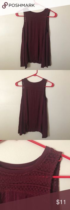 maroon lace tank top -maroon top from American Eagle -size XS but fits like a small -super soft and stretchy -only worn once!  ~comment for private discount~ American Eagle Outfitters Tops Tank Tops