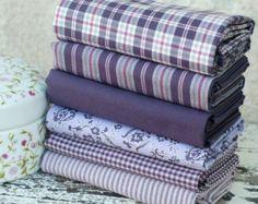 Paquete de tela cuarto grasa en Damson rico, ciruela, púrpura, color de rosa - rayas del algodón 100%, controles, florales - edredón arte de cojín patchwork muñeca juguete