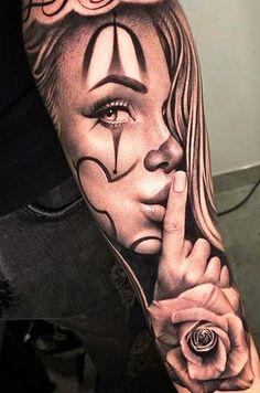 Skull Girl Tattoo, Girl Face Tattoo, Clown Tattoo, Girl Arm Tattoos, Dope Tattoos, Badass Tattoos, Forearm Tattoos, Body Art Tattoos, Chicano Tattoos Sleeve