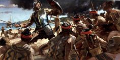 Oil Painting Illustration by Gregory Manchess Conquistador, Battle Of Mactan, Tattoos Pinterest, Maya, Filipino Tribal Tattoos, Tattoo Son, Aztec Culture, Aztec Warrior, Religion