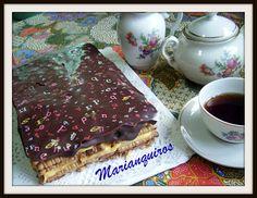Tarta de galletas con chocolate y caramelo