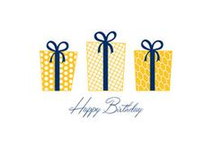 Sleek and chic is this marigold-and-blue birthday card available as a selection from Greeting Card Collection.