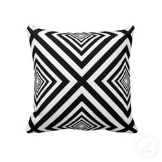 Fifties Squares Fantasy. Unique, trendy, pretty and cool pillow with beautiful black and white colored 50s, 60s, or 70s psychedelic abstract square print pattern design. Made for the hip fashion trend setter, the modernist style or decorative graphic motif art lover amongst us. Cute girly girl's, kid's, mom's or dad's birthday present, Father's or Mother's day, or Christmas gift. Original and fun pillow for the master or children's bedroom, living or family room, beach house or vacation…
