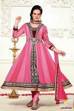 Pavitraa Classy #Pink Color #Anarkali Salwar Suit