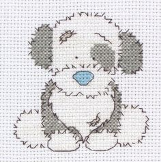 Cute cross-stich puppy in blue and grey.