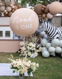 Baby Boy Birthday Decoration, Boys 1st Birthday Party Ideas, Safari Birthday Party, 1st Boy Birthday, Safari Party Decorations, Balloon Decorations, Birthday Decorations, Jumbo Balloons, Its A Boy Balloons