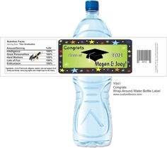 Graduation party water bottle labels from www.customfavors.com. #graduation #bottlelabels #waterbottlelabels.  Great idea for grad party!