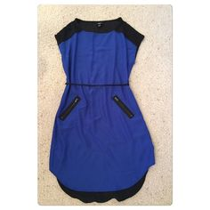 "NWOT, Blue & Black Contrast Hi Lo Dress! NWOT, Royal blue and black hi lo contrast dress. Tie waist to adjust to your perfect fit! Super cute, lightweight and comfortable! Made of: body- 100% polyester, contrast- 95% rayon & 5% spandex. Sized as XS but will fit XS-S. measurements from neck to bottom 31"" from under arm 21"". No trades Mossimo Supply Co. Dresses High Low"