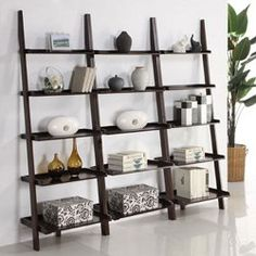 Walnut Leaning Ladder Shelf with Laptop Desk Set - Overstock Shopping - Great Deals on Media/Bookshelves Ladder Bookcase, White Ladder Shelf, Leaning Bookcase, Ladder Bookshelf, Shelves, Desk Set, Leaning Bookshelf, Leaning Ladder Shelf, Ladder Shelf