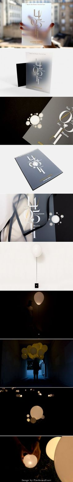 """博物館2011 ::光(透明)和亮度(詩)的歐洲之夜是啟發Murmure主題。 這表明一個街道的營銷理念,發光氣球運送請柬穿過小鎮的街道飄來。 黑色信封透露使用的透明度""""的內容,吸引訪問者花園發現一個明亮和短暫的安裝。  - 通過創建http://pinthemall.net:"""