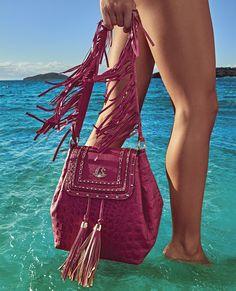 Bag tiracolo pink Carmen Steffens com franjas ❤️