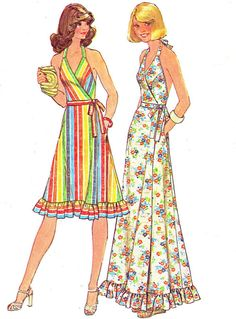 You can't have too many 70s sun dresses. 1970s Dress Pattern Simplicity 7484 Low Back Fit by paneenjerez, $18.00